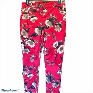 Chico's Sz 2.5 Red Floral jeggings in Black/White